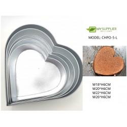 5pcs loyang heart shape mould W18/20/22/26CM x H6CM