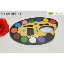12 color watercolor plates (23cm) and brushes