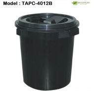 csk 4012b 12gal Black Pail With Cover W41cm*H74cm