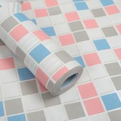 9150 blue and pink mosaic wallpaper 45cm*10meter