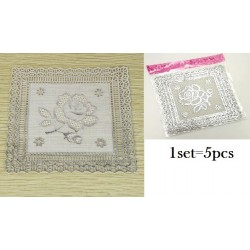 5in1 12.5*12.5cm sliver square table mats (s)