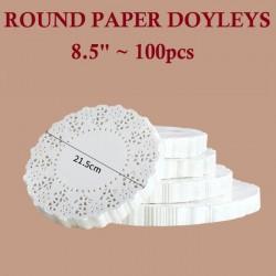 100pcs round paper doyleys 8.5