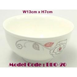 5inch round ceramic bowl-red grey flower W13cm*H7cm
