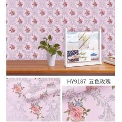 9187 5colour roses wallpaper 45cm*10meter
