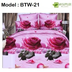 3d pink rose 4in1 king size double bedsheet set