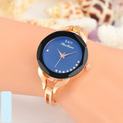 4cm Women Gold Bracelet Watch-blue