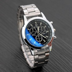 4cm Stainless Steel Sport Quartz Hour Wrist Analog Watch Black