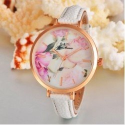 4cm Women White Leather Watch