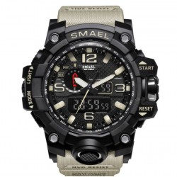 4.5cm Waterproof Outdoor Multifunctional Sports Men's Digital Watch-black mix khaki