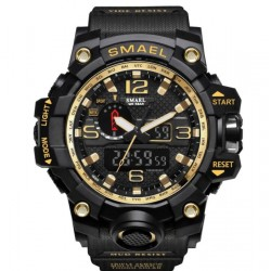 4.5cm Waterproof Outdoor Multifunctional Sports Men's Digital Watch-black mix gold