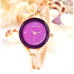 3.3cm Women Gold Bracelet Watch-purple