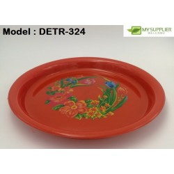 Round Serving Tray With Flower W29.5cm
