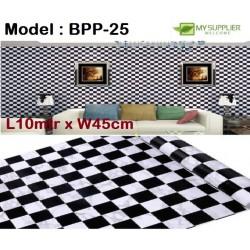 9095 black and white lattices wallpaper 45cm*10meter