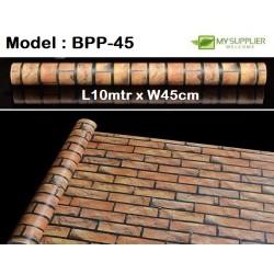 9211 Small Orange Brick Wallpaper W45cm*L10mtr