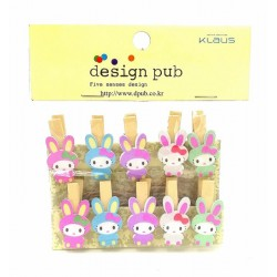 10pcs 4cm rabbit wooden photo clip with rope