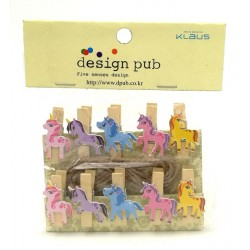 10pcs 4cm unicorn wooden clip with rope