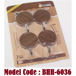 6036 4pcs circle wooden design hook w4*h5cm