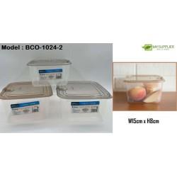 1024-2 Plastic Square Transparent Food Container W15xH8CM