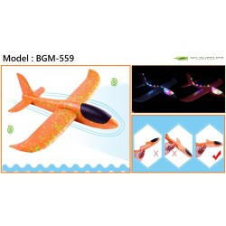 Foam Toy Hand Launch Airplane Model With LED Light L46.5cm x  W48cm(WING)