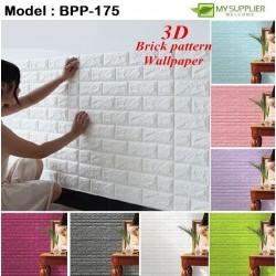 3D Brick Pattern Self Adhesive Foam Wallpaper W68xL76cm