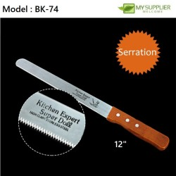12 inch Stainless Steel Toast/Bread Knife With Wooden Handle- Serrated Teeth