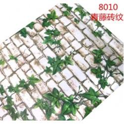 8010 45cm*10m?? leaf white brick wallpaper