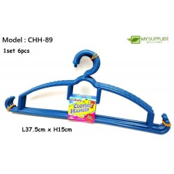 Yokafo 6pcs Model 89 Plastic Hanger (Blue/Red/Green) L37.5cm x W15cm
