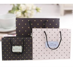L25XH20XW8cm polka dot small paper bag with stripe (m)