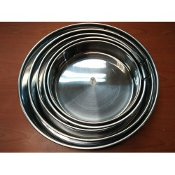 5pcs s/steel round tray with handle(24/36)