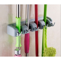 4 Slot 5 Hook Broom Hanger l32.5cm*w6cm*h8cm