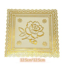 5in1 12.5*12.5cm gold square table mats (s)